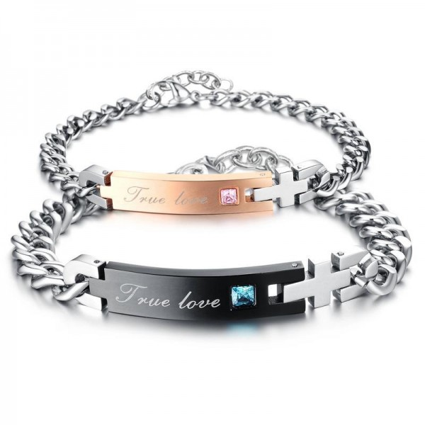 Personalized True Love Stainless Steel Matching Couples Bracelets
