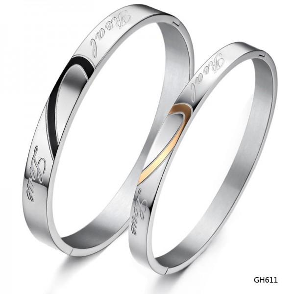 Adjustable Titanium Real Love Matching Heart Couple Bangles Bracelet