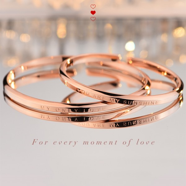 You Are My Sunshine My Only Love Rose Couple Bracelet In Sterling Silver