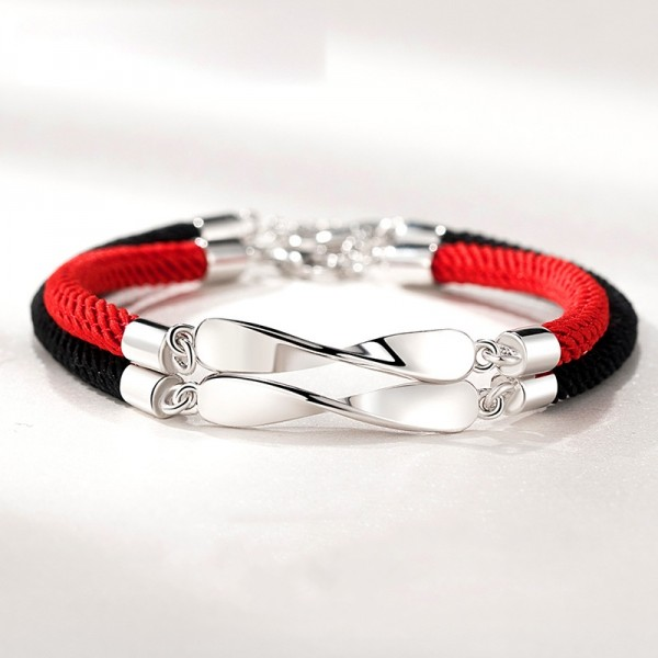 Adjustable Silver Mobius Charm Rope Bracelets For Couples