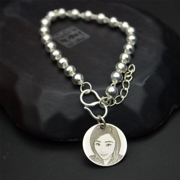 Custom Photo Engraved Round Charm Bracelet In Sterling Silver