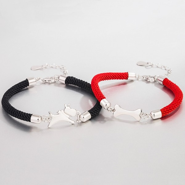 Engravable Dog And Bone Matching Bracelets For Couples In Sterling Silver