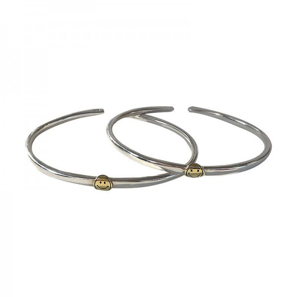 Engravable Smiley Face Matching Bangles For Couples In Sterling Silver