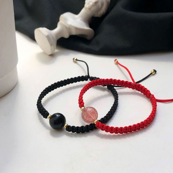 Personalized Rope Bracelets For Couples With Black And Red Bead