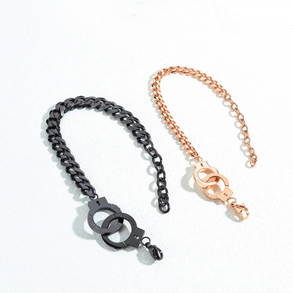 Personalized Handcuffs Bracelets For Couples In Titanium