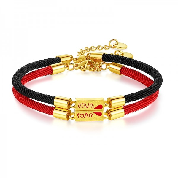 Love Matching Bracelets For Couples In 24K Gold And Rope