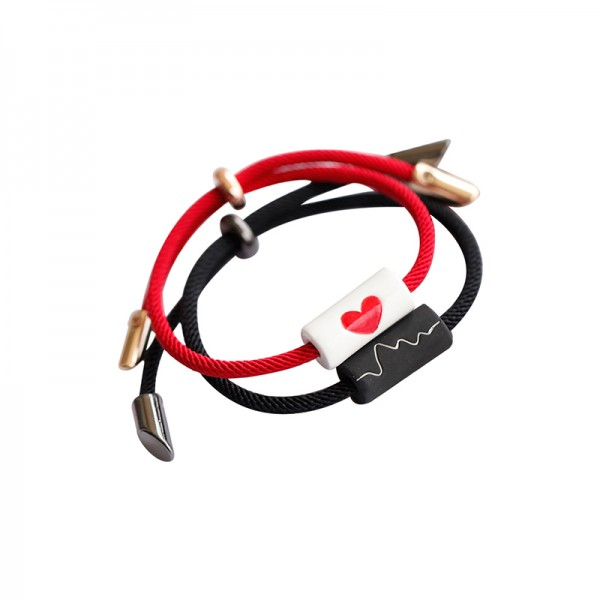 Engravable Heartbeat Matching Bracelets For Couples