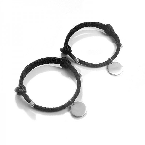 Engravable Simple Matching Bracelets For Couples In Titanium And Rope