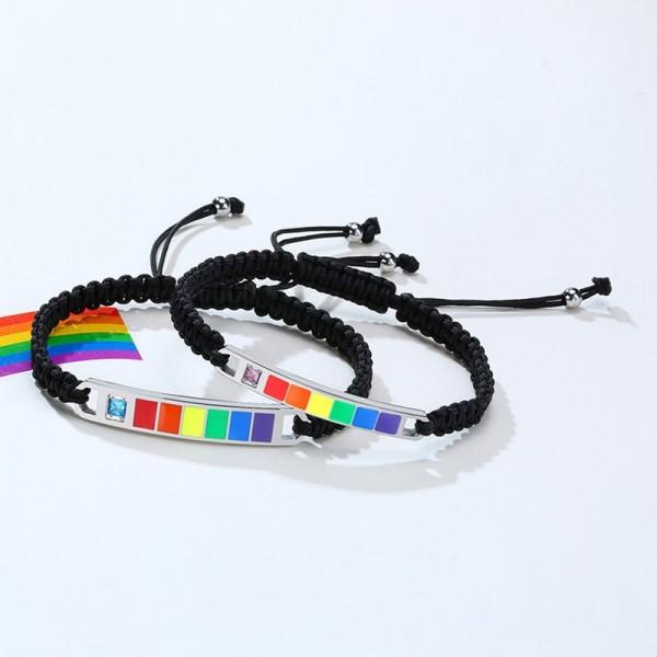 Engravable Rainbow Bracelets For Couples In Titanium