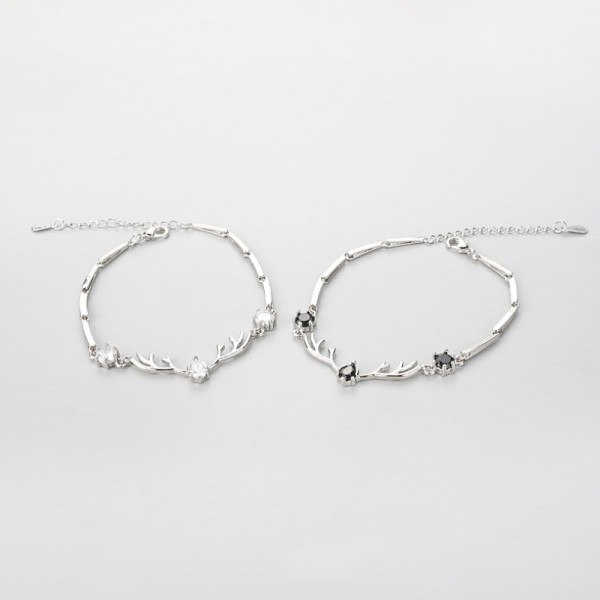 Personalized Matching Elk Bracelets For Couples In Sterling Silver