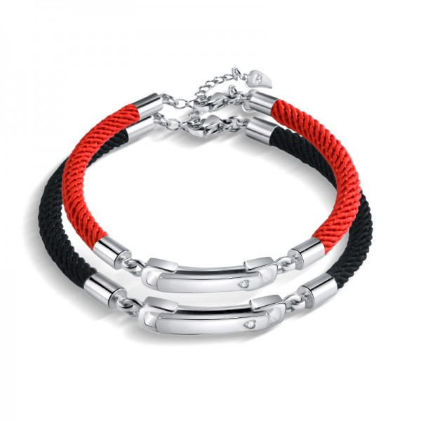 Engravable Knot Matching Bracelets For Couples In Sterling Silver
