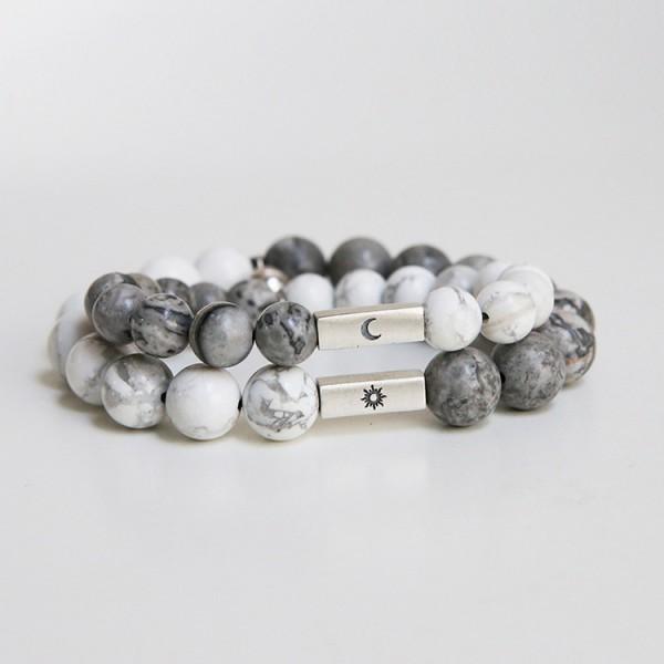 Engravable Sun And Moon Distance Bracelets Set For Couples