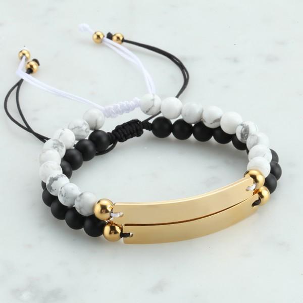 Engravable Matching Couple Beaded Bracelets In Titanium