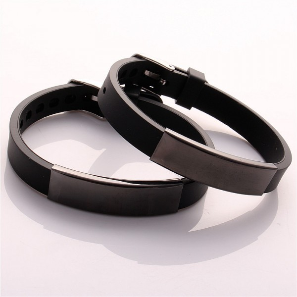 Engravable Matching Silicone Belt Bracelets For Couples
