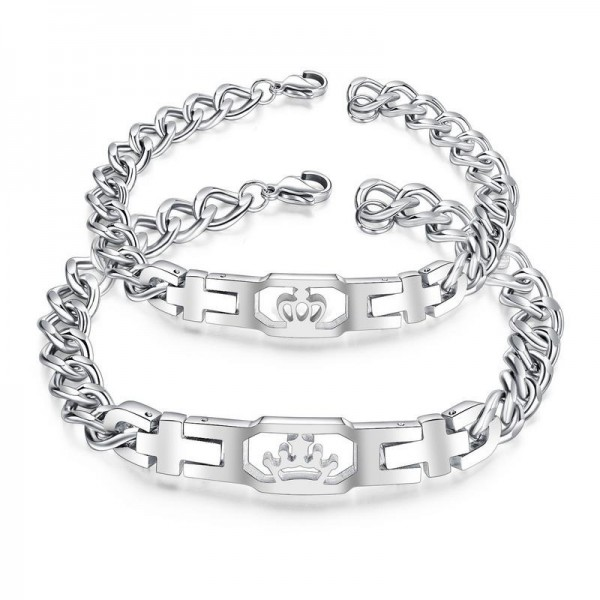 Silver Matching Couple Crown Bracelets In Titanium