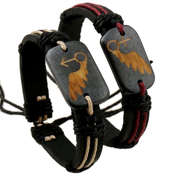 Personalized Angel wings Matching Couple Bracelets In Cowhide