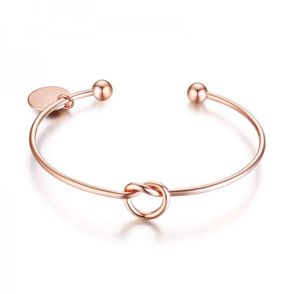 Engravable Knot Heart Cuff Bracelet For Womens In Titanium