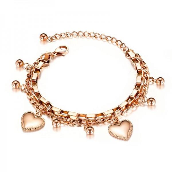 Engravable Two Heart Charm Bracelet For Womens In Titanium