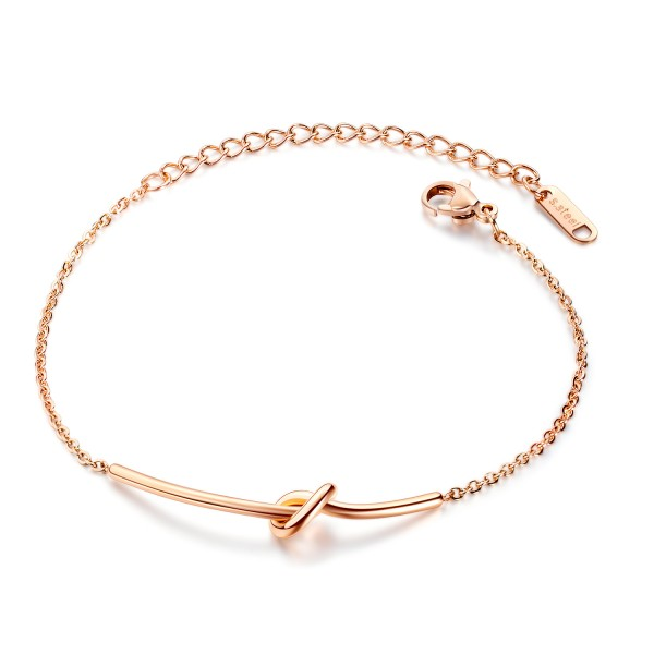 Simple Knot Bracelet For Womens In Titanium Silver And Rose Optional