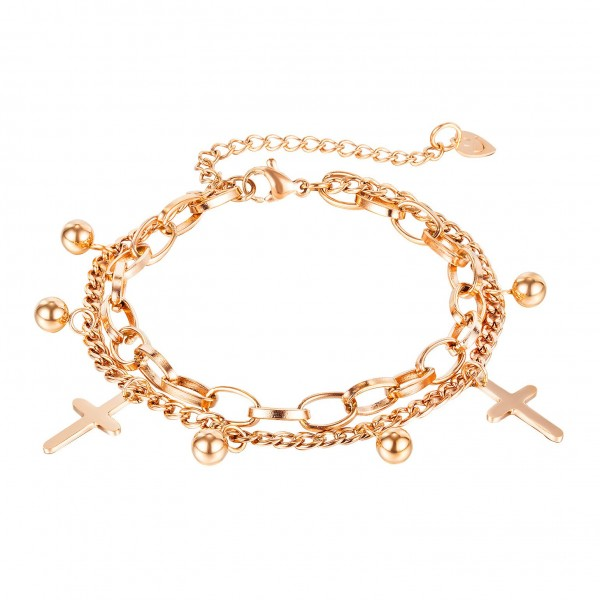 Cute Cross Charm Bracelet For Womens In Titanium