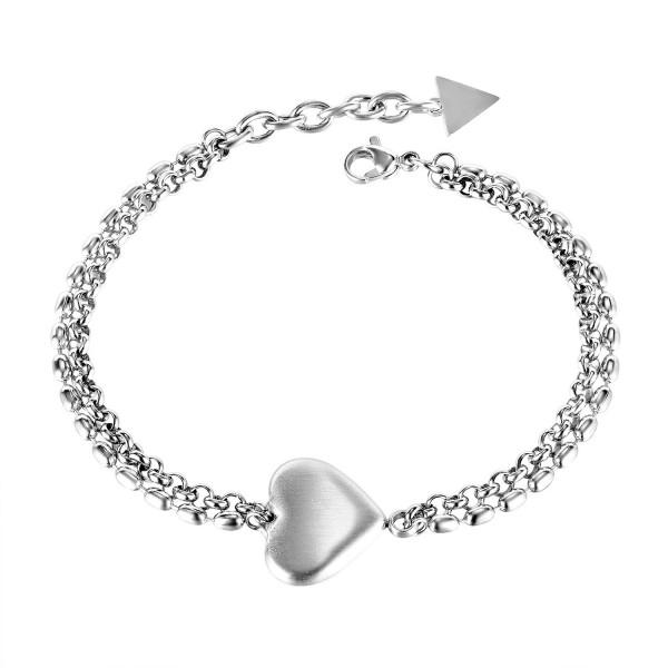 Engravable Rose Heart Charm Bracelets For Womens In Titanium