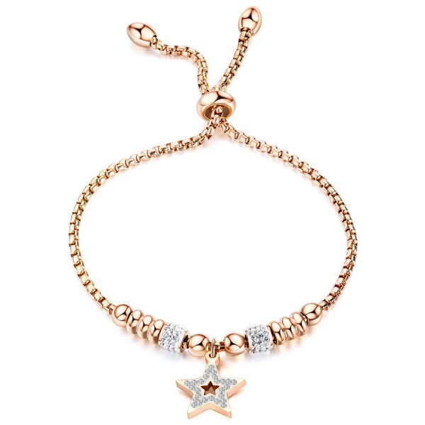 Rose Star Charm Bracelet For Womens In Titanium And Cubic Zirconia