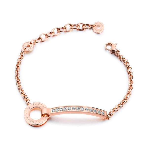 Engravable Forever Love Charm Bracelets For Womens In Titanium And CZ