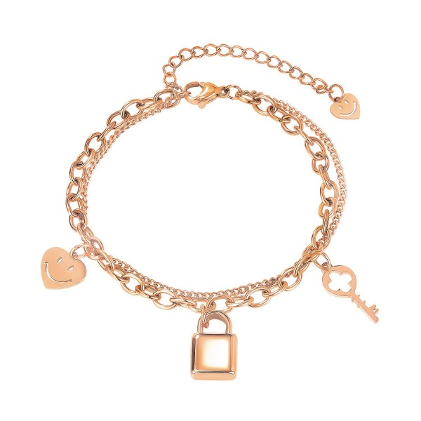 Personalized Lock And Key Smiley Bracelet For Womens In Titanium