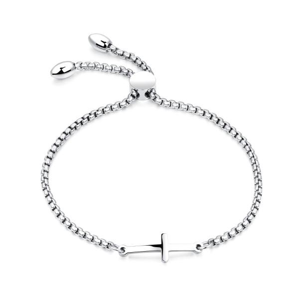Engravable Cross Charm Bracelets For Womens In Titanium