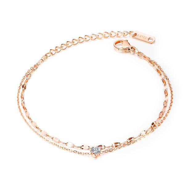 Simple Rose Chain Bracelet For Womens In Titanium And Cubic Zirconia