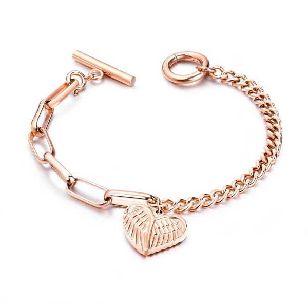 Personalized Angel Wings Heart Charm Bracelet For Womens In Titanium
