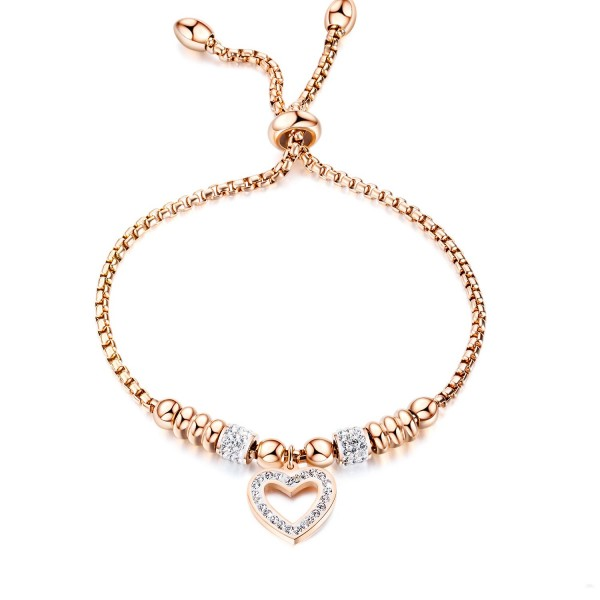 Personalized Rose Hollow Heart Bracelet For Womens In Titanium And Cubic Zirconia