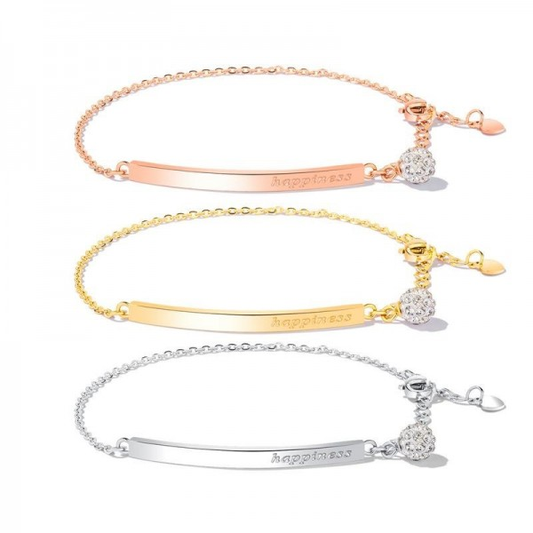 Engravable Rose Charm Bracelet For Womens In Titanium And Cubic Zirconia