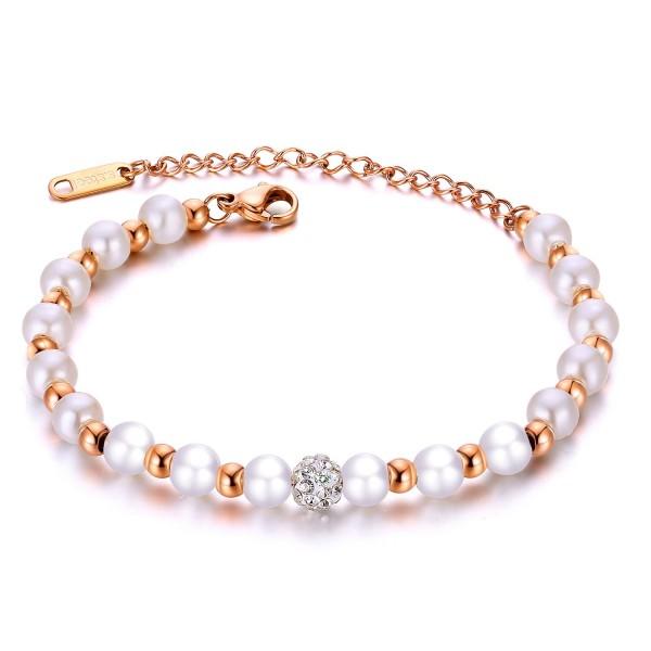 Unique Pearl Beades Bracelet For Womens In Titanium