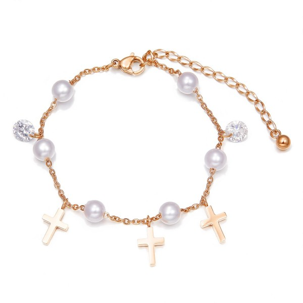 Unique Pearl Cross Charm Bracelet For Womens In Titanium