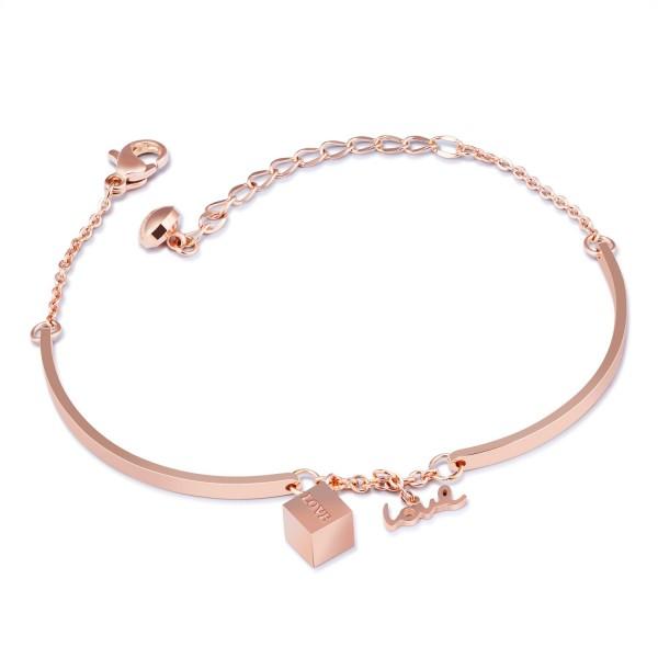 Cute Love Sugar Cube Charm Bracelet For Womens In Titanium