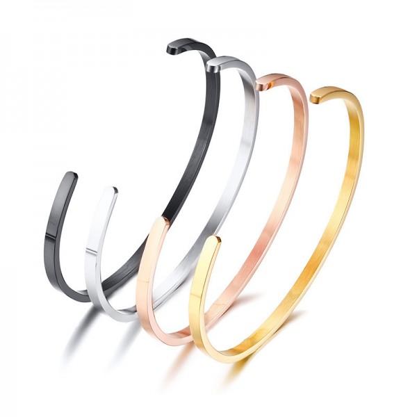 Engravable Simple Cuff Bangle Bracelet For Womens In Titanium