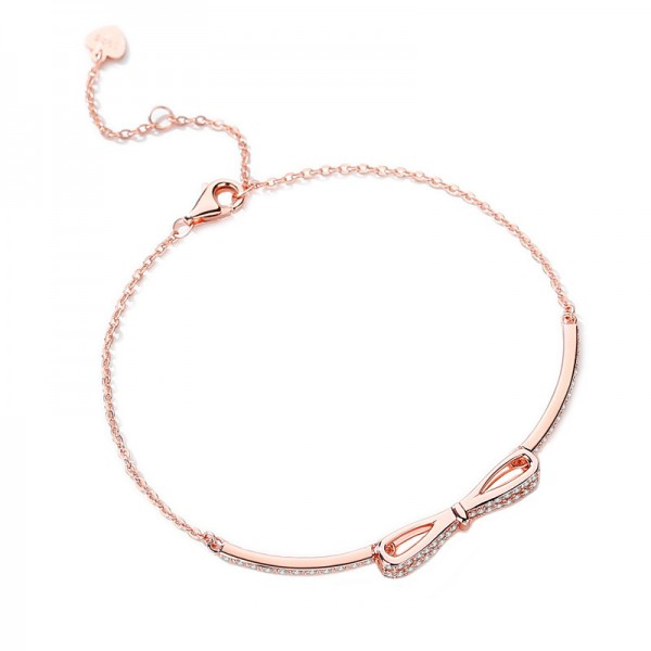 Unique Rose Bow Bracelet For Womens In Sterling Silver And Cubic Zirconia
