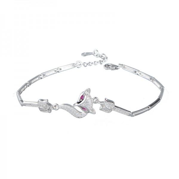Cute Fox Charm Bracelet For Womens In Sterling Silver