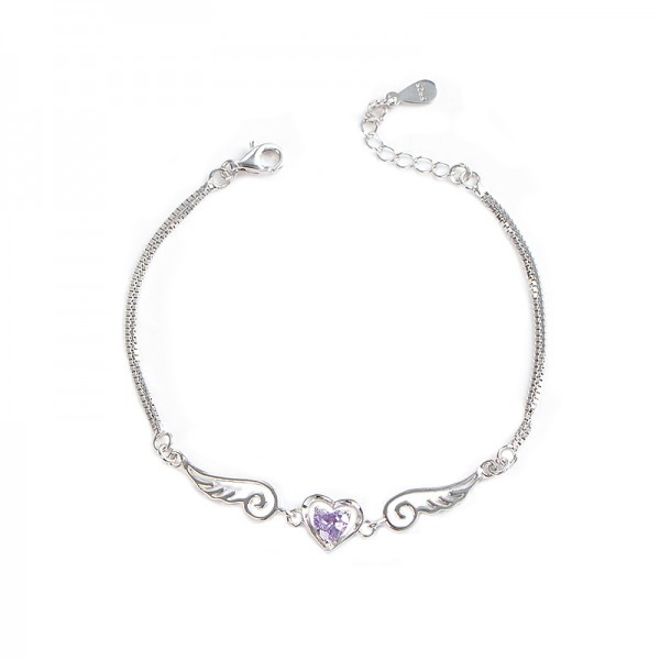 Unique Angel Heart Charm Bracelet For Womens In Sterling Silver