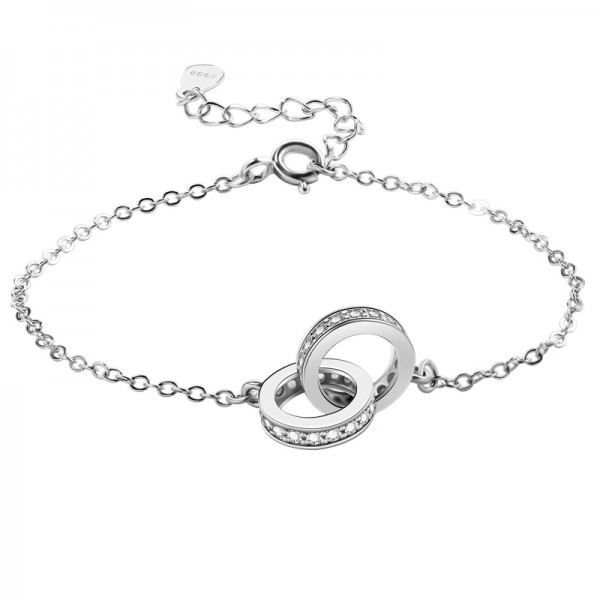 Unique Double Ring Charm Bracelet For Womens In Sterling Silver