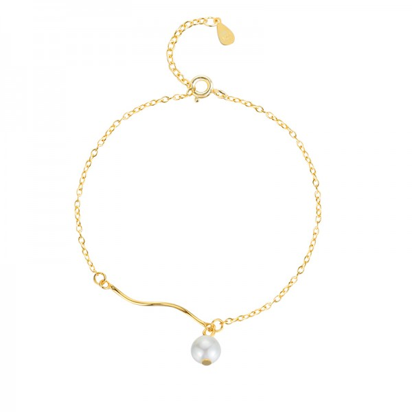 Simple Pearl Bracelet For Womens In Sterling Silver