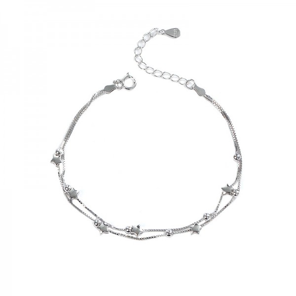 Simple Stars Chain Bracelet For Womens In Sterling Silver