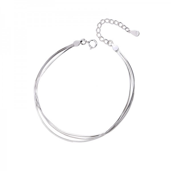 Simple Chain Bracelet For Womens In Sterling Silver