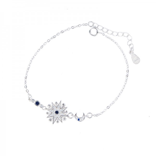 Sun And Moon Charm Bracelet For Womens In Sterling Silver