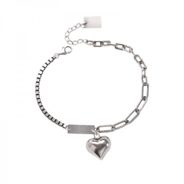 Engravable Heart Charm Bracelet For Womens In Sterling Silver