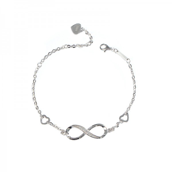 Personalized Two Heart Infinity Charm Bracelet For Womens In Sterling Silver