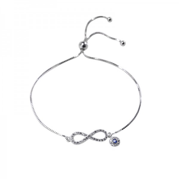 Unique Infinity Bracelet For Womens In Sterling Silver And Cubic Zirconia