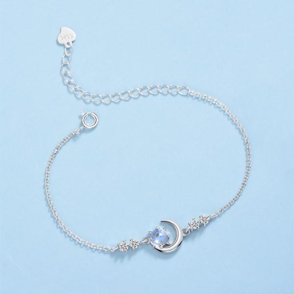 Cute Fantasy Starry Sky Charm Bracelet For Womens In Sterling Silver