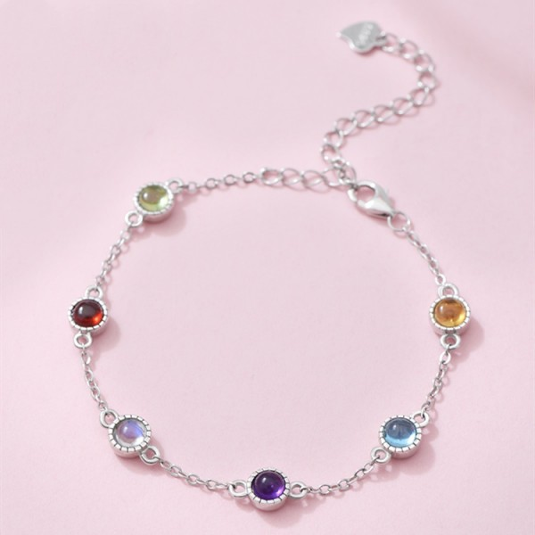 Unique Rainbow Birthstone Bracelet For Womens In Sterling Silver